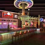 3D Interior rendering of a club with photo realistic lighting with dynamic colors