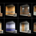 3d model of elevator interiors with different panel configurations and materials
